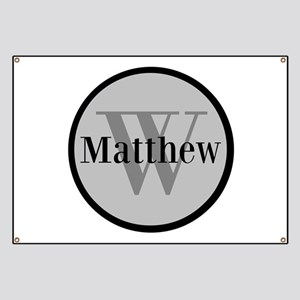 Gray Name and Initial Monogram Banner