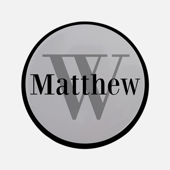 """Gray Name and Initial Monogram 3.5"""" Button (100 pa"""
