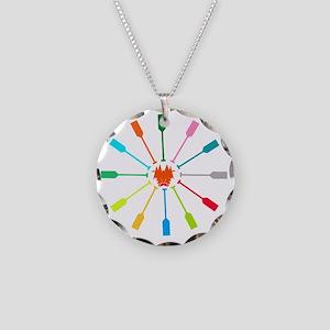 dragon like colorful paddle Necklace Circle Charm