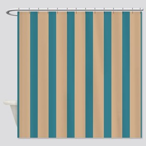 teal striped shower curtain. tan and teal stripes Shower Curtain Teal And Tan Curtains  CafePress