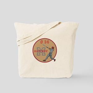 Baseball Player Monogram Number Tote Bag