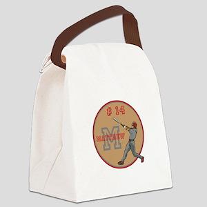 Baseball Player Monogram Number Canvas Lunch Bag