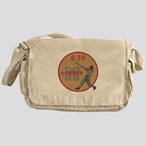 Baseball Player Monogram Number Messenger Bag