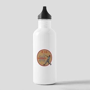 Baseball Player Monogram Number Water Bottle