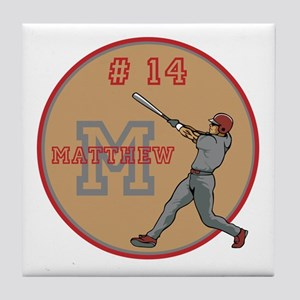 Baseball Player Monogram Number Tile Coaster