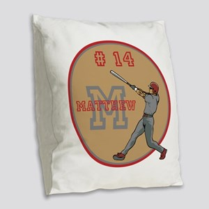 Baseball Player Monogram Number Burlap Throw Pillo