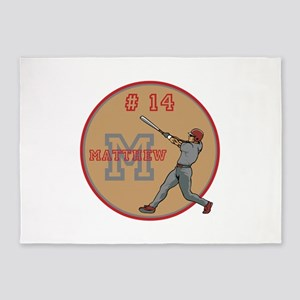 Baseball Player Monogram Number 5'x7'Area Rug