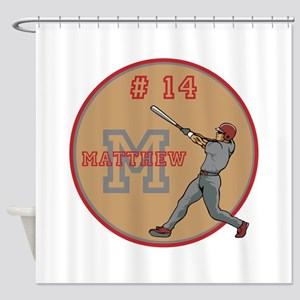 Baseball Player Monogram Number Shower Curtain