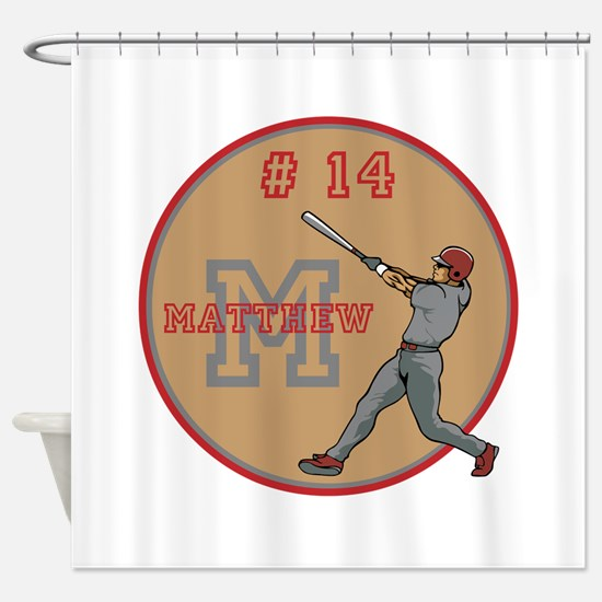 Baseball Player Monogram Number Shower Curtain