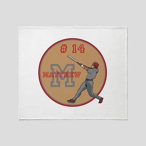 Baseball Player Monogram Number Throw Blanket