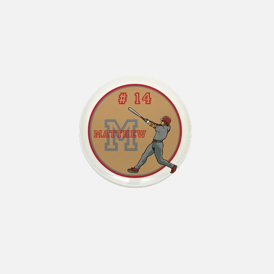 Baseball Player Monogram Number Mini Button