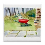 Red Wheelbarrel Tile Coaster