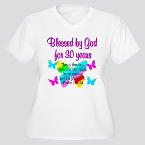 BLESSED 30TH Women's Plus Size V-Neck T-Shirt