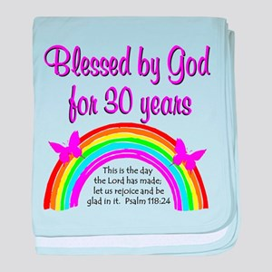 BLESSED 30TH baby blanket
