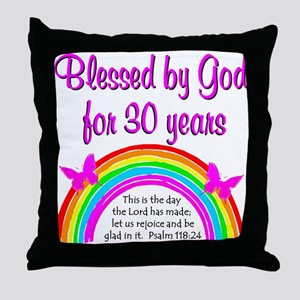 BLESSED 30TH Throw Pillow