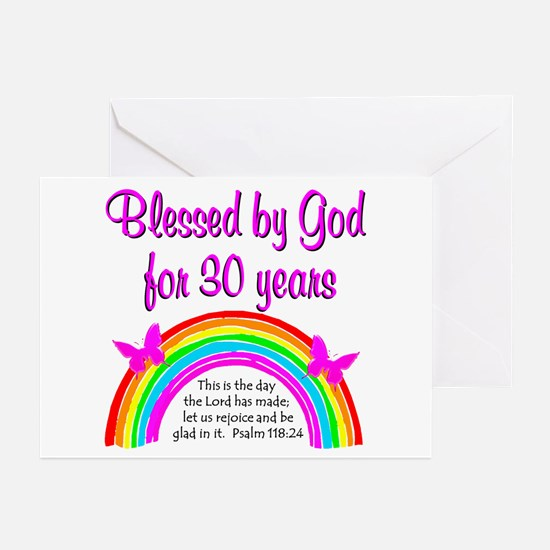 BLESSED 30TH Greeting Cards (Pk of 10)
