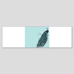 Peacock turquoise polka dot Bumper Sticker