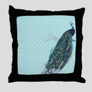 Peacock turquoise polka dot Throw Pillow