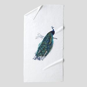 Vintage peacock Beach Towel
