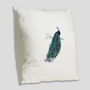 Vintage peacock Burlap Throw Pillow