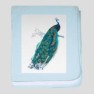 Vintage peacock baby blanket