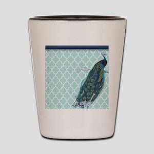 Peacock mint quatrefoil Shot Glass