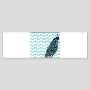 Mint Chevron Peacock Bumper Sticker