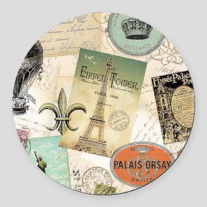 Vintage Travel collage Round Car Magnet