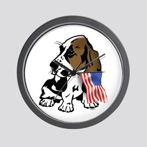 Basset Hound Flag Wall Clock