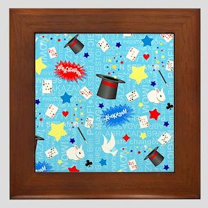 Blue Magician pattern Framed Tile
