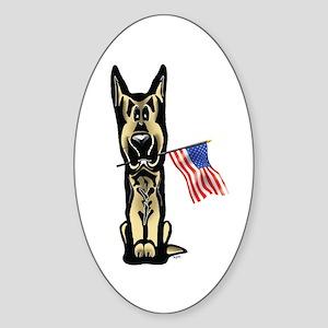 4th of July German Shepherd Oval Sticker