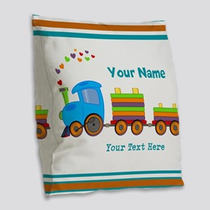 Custom Kids Train Burlap Throw Pillow