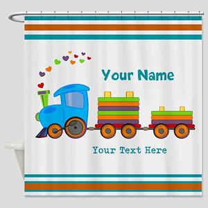 Custom Kids Train Shower Curtain
