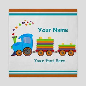 Custom Kids Train Queen Duvet