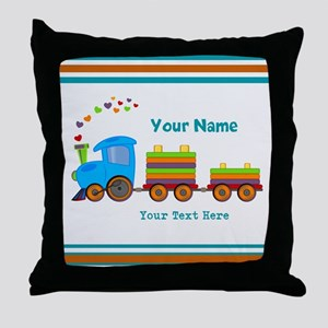 Custom Kids Train Throw Pillow