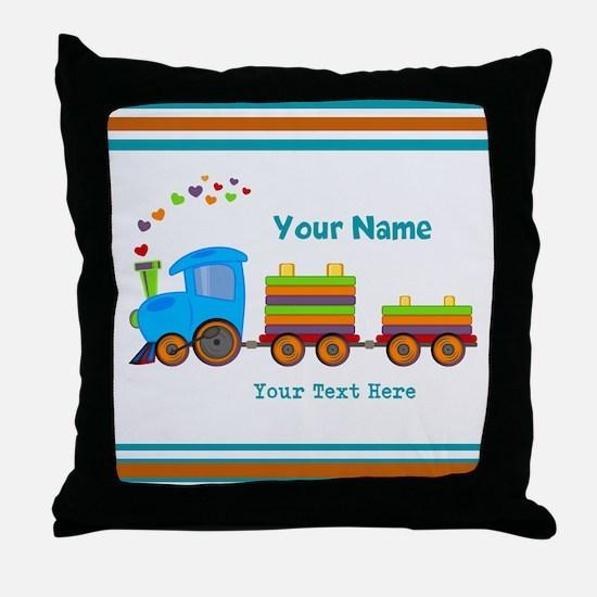 Custom Kids Train Throw Pillow