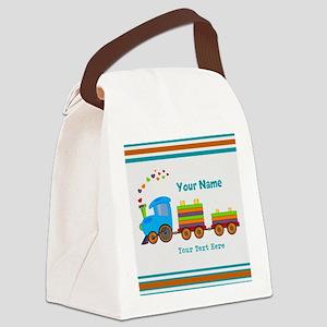 Custom Kids Train Canvas Lunch Bag