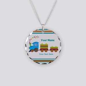 Custom Kids Train Necklace Circle Charm