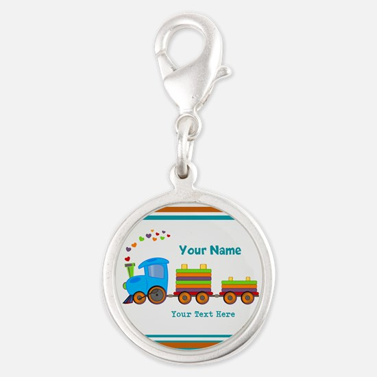 Custom Kids Train Silver Round Charm