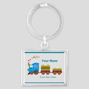Custom Kids Train Landscape Keychain