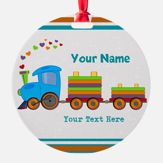 Custom Kids Train Ornament