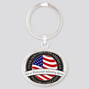 Over-Documented American large Oval Keychain