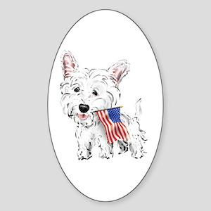 4th of July Westie Oval Sticker