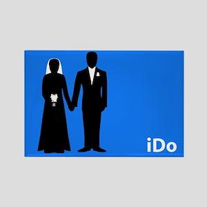 """I Do"" Bride & Groom Blue Rectangle Magnet"