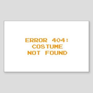 404 Error : Costume Not Found Sticker (Rectangle)