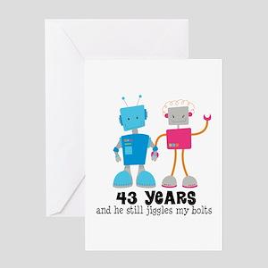 43 Year Anniversary Robot Greeting Card
