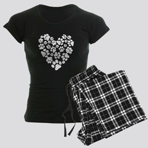Dog Paw Prints Heart Women's Dark Pajamas