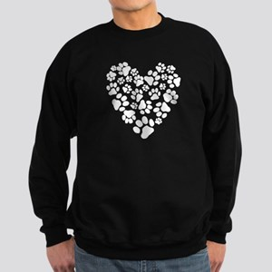 Dog Paw Prints Heart Sweatshirt (dark)