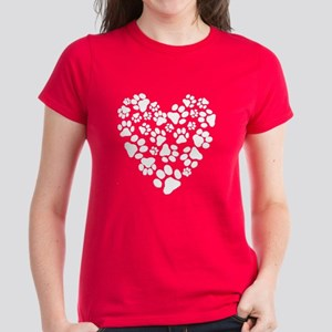 Dog Paw Prints Heart Women's Dark T-Shirt