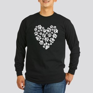 Dog Paw Prints Heart Long Sleeve Dark T-Shirt
